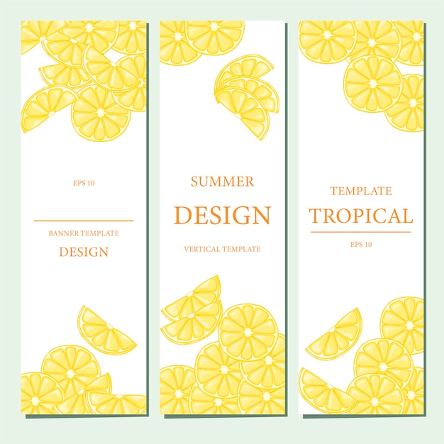 Vertical template with fruits Premium Vector