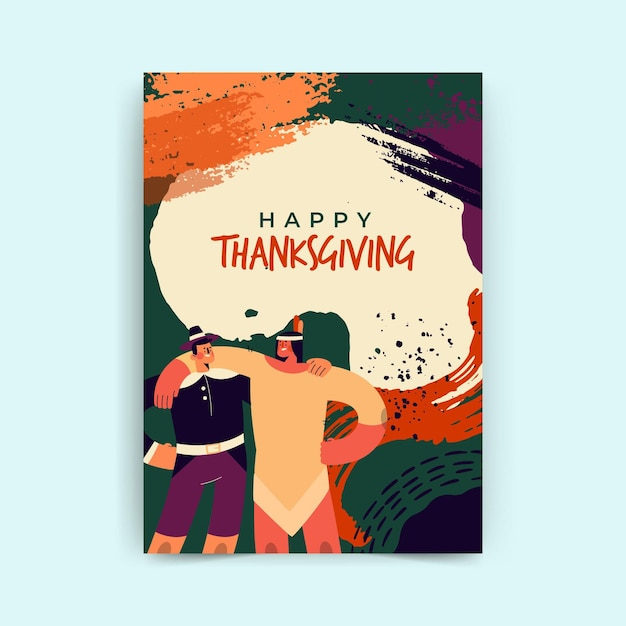 Vertical thanksgiving card template Free Vector