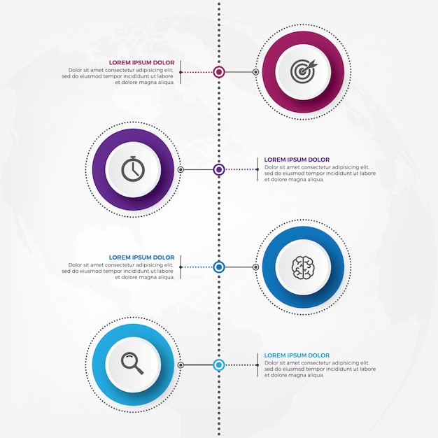 Vertical timeline infographic design vector with icon. Premium Vector