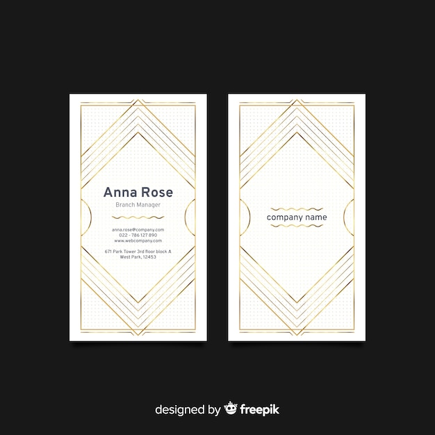 Vertical white elegant business card template Free Vector