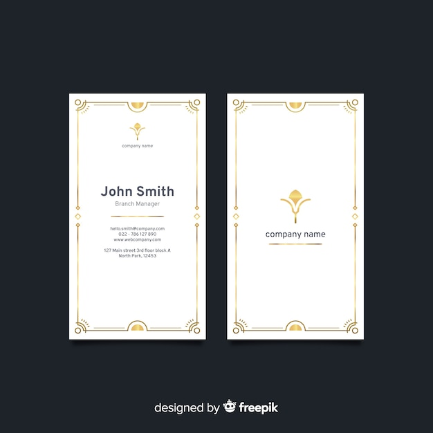 Vertical white elegant business card Free Vector