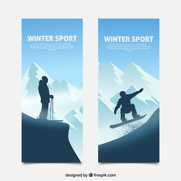 Vertical winter sport banners