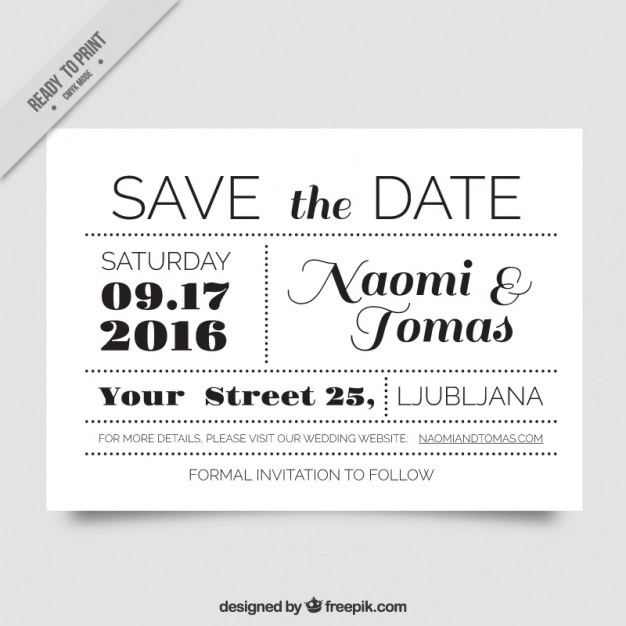 Very original wedding invitation in black and white vector free very original wedding invitation in black and white free vector stopboris Images