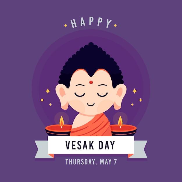 Vesak day concept Free Vector