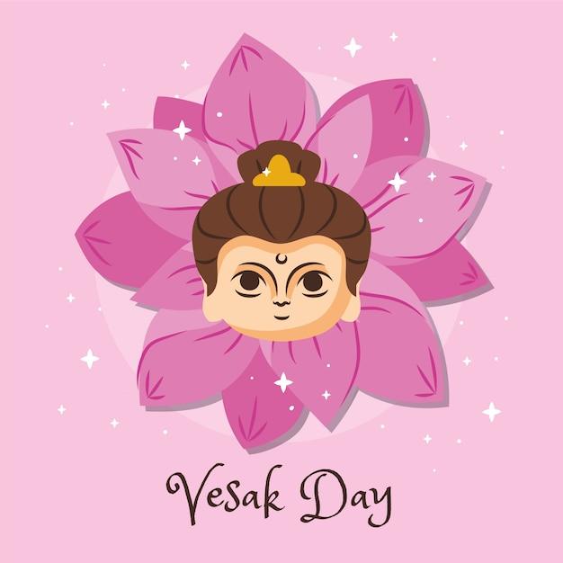 蓮の花と女性のベサク日 無料ベクター