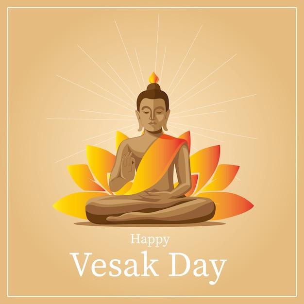 Vesak greetings card Premium Vector