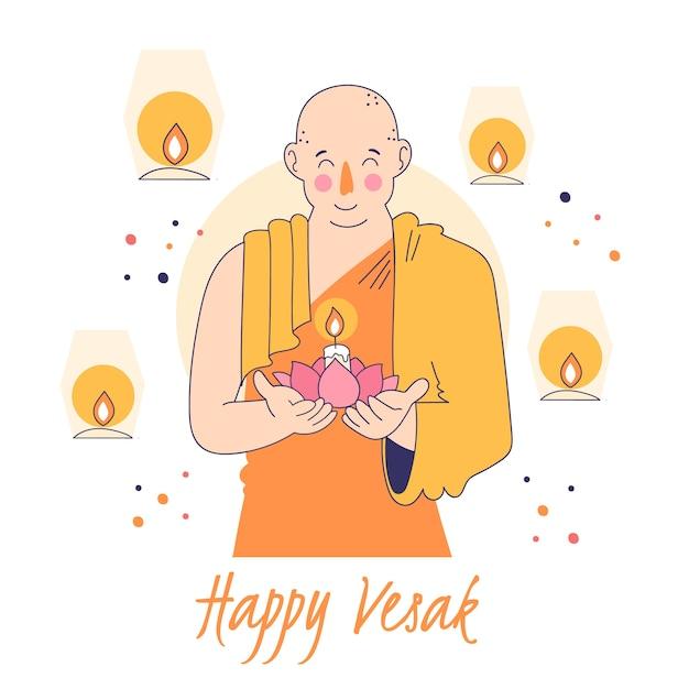 僧侶のキャンドルを保持している幸せのvesak 無料ベクター