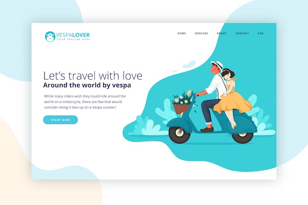 Vespa couple traveling landing page Premium Vector