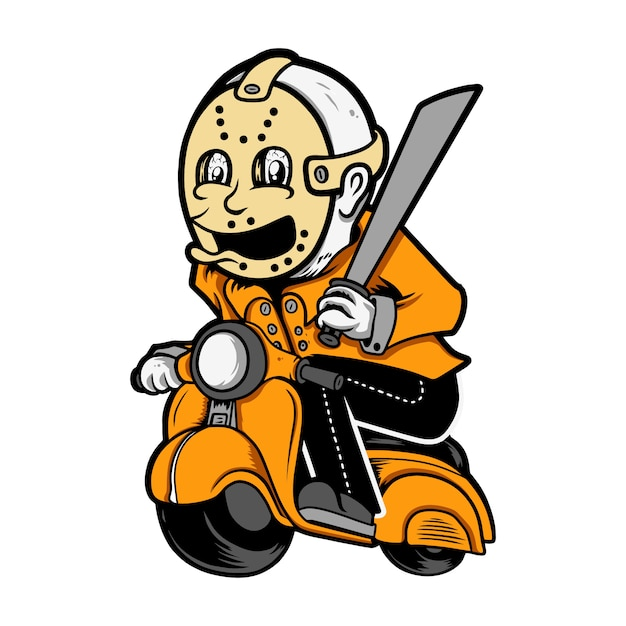 Vespa cute,jason voorhees Premium Vector