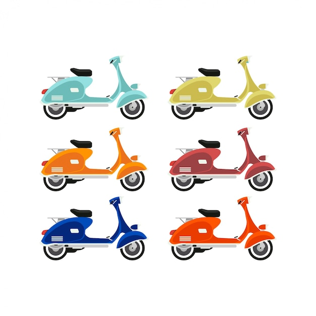 Vespa design illustrations Premium Vector