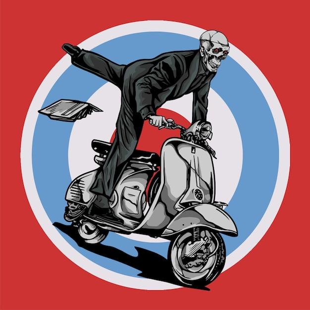 Vespa scooter mod ride by skull Premium Vector