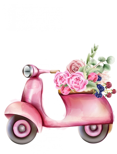 Vespa style pink scooter with flowers in the trunk Premium Vector