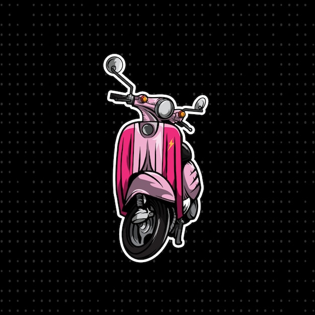 Розовая ручная ничья мотоцикла vespa Premium векторы