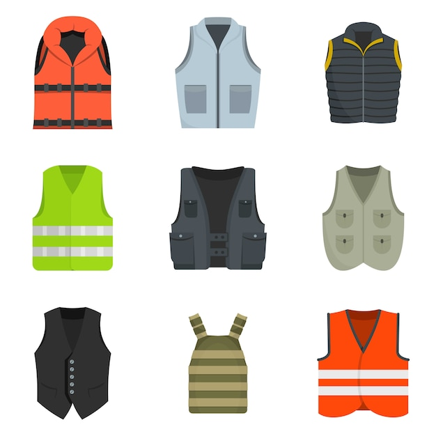Vest waistcoat jacket suit icons set vector isolated Premium Vector