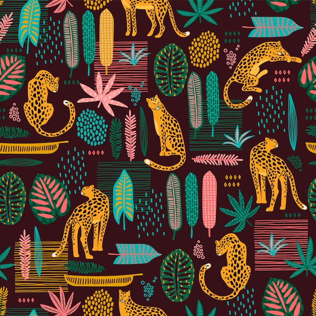 Vestor seamless pattern with leopards Premium Vector