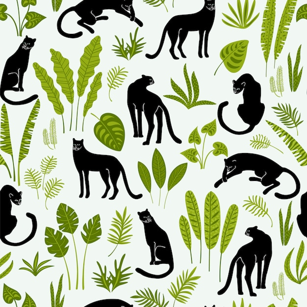 Vestor seamless pattern with panthers and tropical leaves. Premium Vector