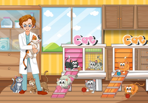 Vet and cats in clinic Free Vector
