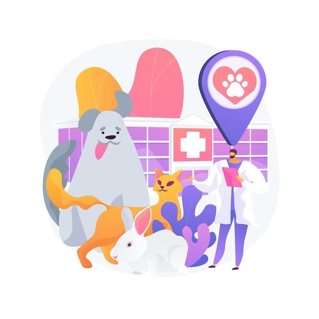 Vet clinic concetto astratto illustrazione. ospedale veterinario, chirurgia, servizi di vaccinazione, clinica per animali, assistenza medica per animali domestici, servizio veterinario, attrezzatura diagnostica Vettore gratuito