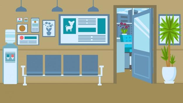 Vet clinic interior flat vector color illustration Premium Vector