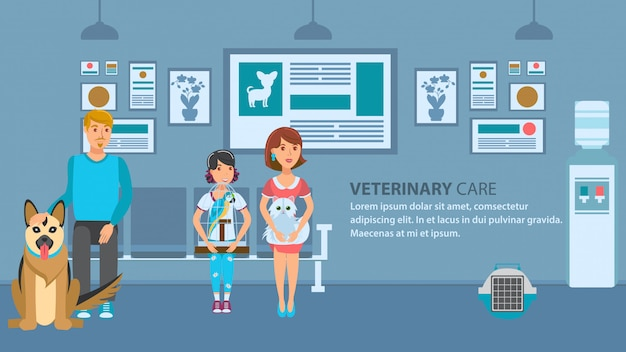 Vet clinic queue banner vector color template Premium Vector