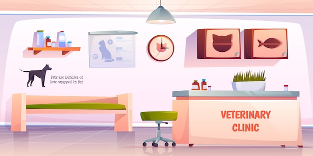 Vet clinic reception illustration Free Vector