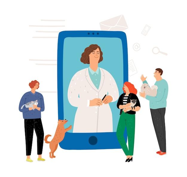 オンラインで獣医の診察。獣医の概念。ペットの飼い主と獣医。 Premiumベクター