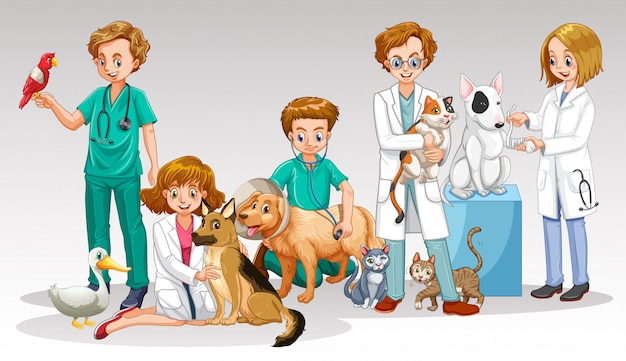 A vet doctor team on white background Premium Vector