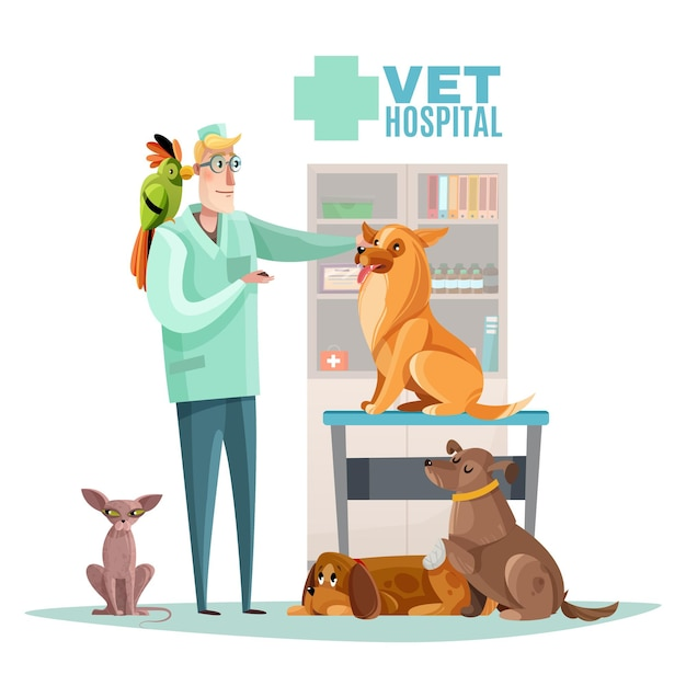Vet hospital composition with veterinarian and pets interior elements flat Free Vector