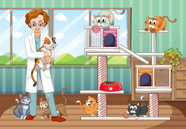 Vet working at animal hospital with many cats Free Vector