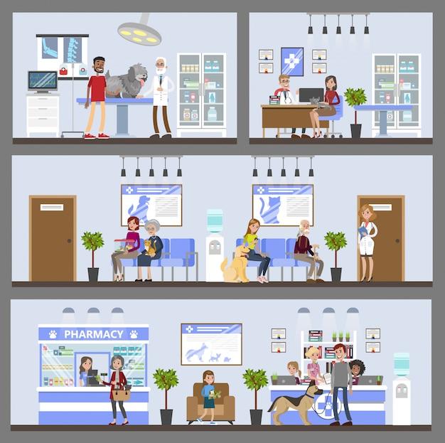 患者と所有者とのvetclinic建物のインテリア。 Premiumベクター