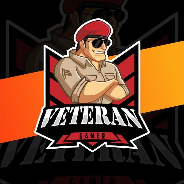 Veteran gamer mascot logo design Premium Vector
