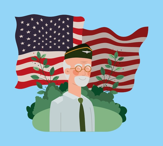 Veteran military man with usa flag in the field Premium Vector