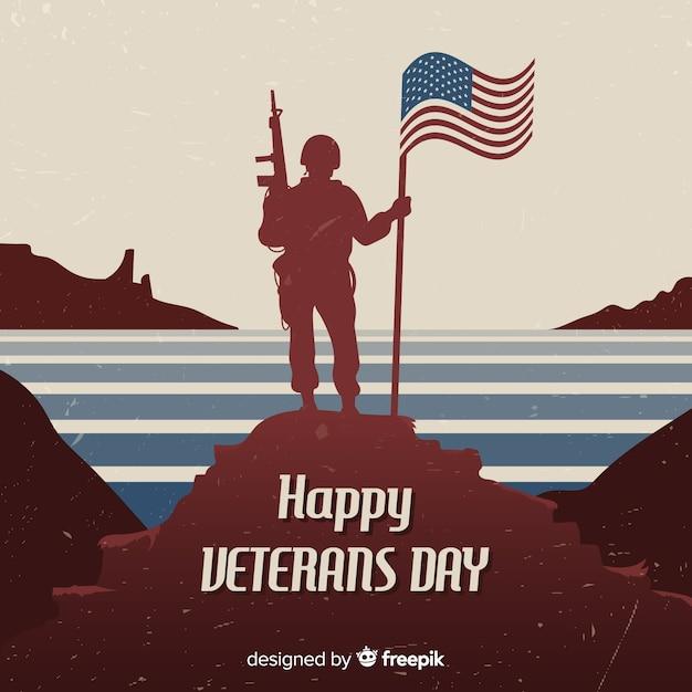 Veteran's day background with soldier and flag Free Vector