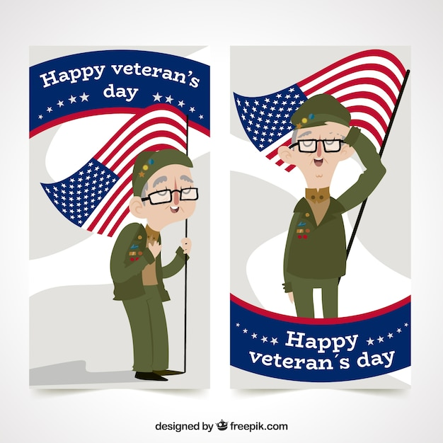 Veteran\'s day banner with character