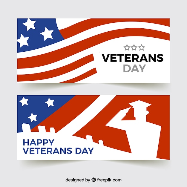 Veteran\'s day banner with flag design