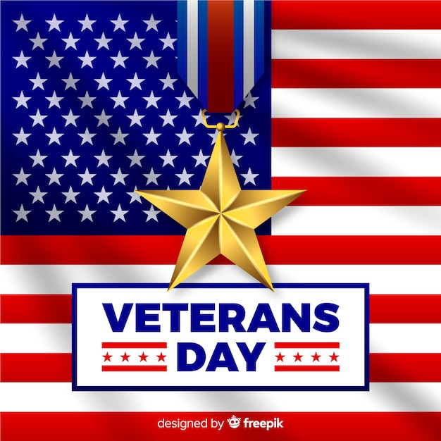 Veteran's day composition with realistic flag Free Vector