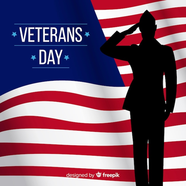 Veteran's day composition with soldier silhouette Free Vector