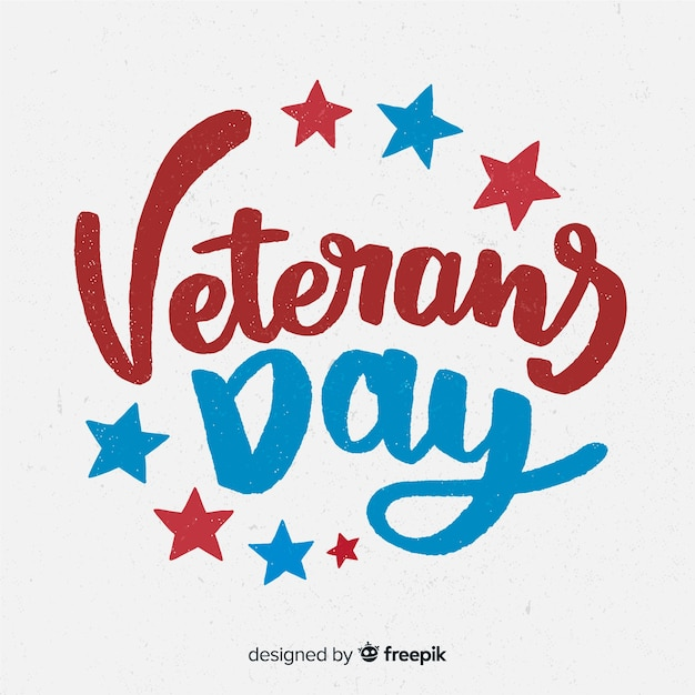 Veterans day background with red and blue lettering Free Vector