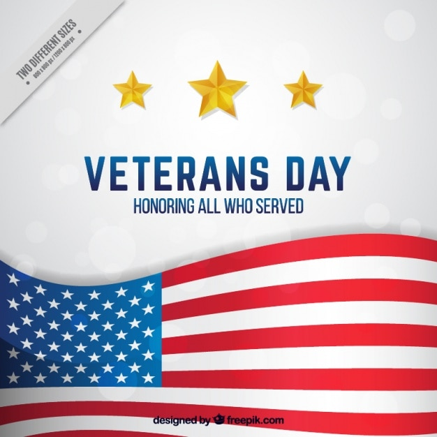 Veterans day background with the american flag\ and three stars