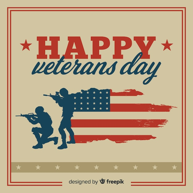 Veterans day background with us flag elements Free Vector