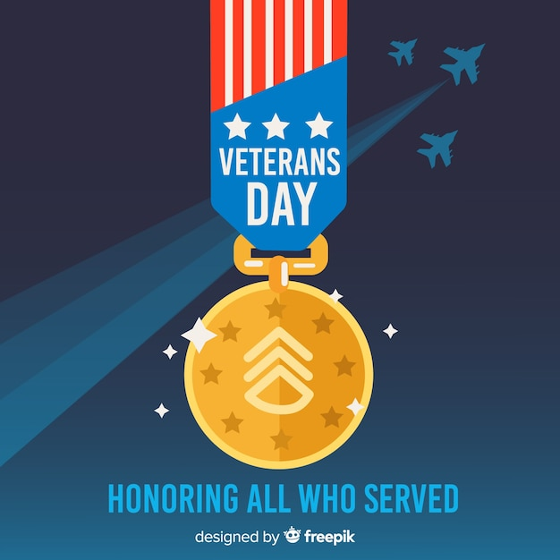Veterans day background with us flag medal Free Vector