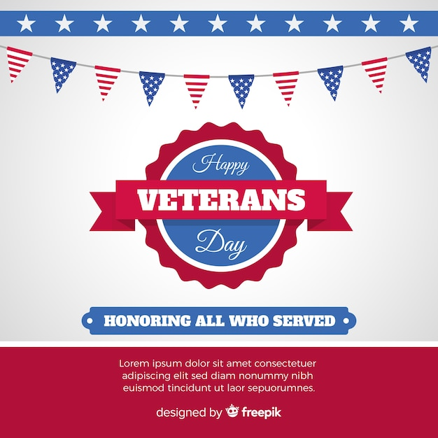 Veterans day background with us flag Free Vector