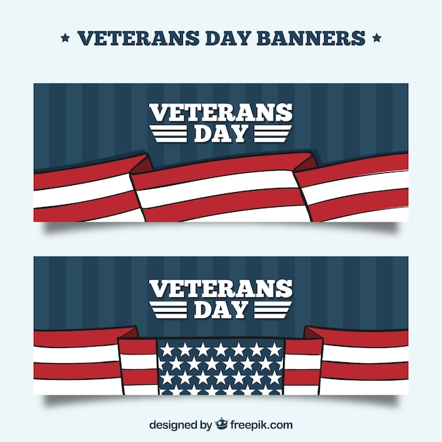 Veterans day banners with flags