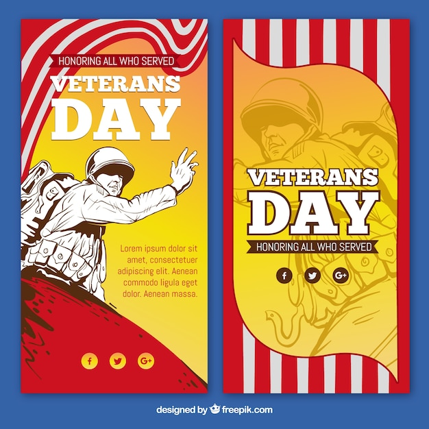 Veterans day banners with illustration