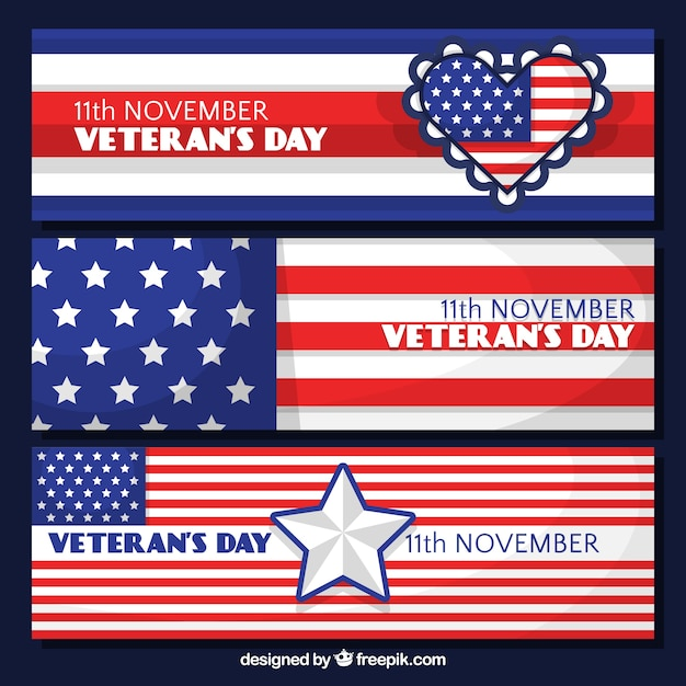 Veterans day banners with the colors of the\ united states