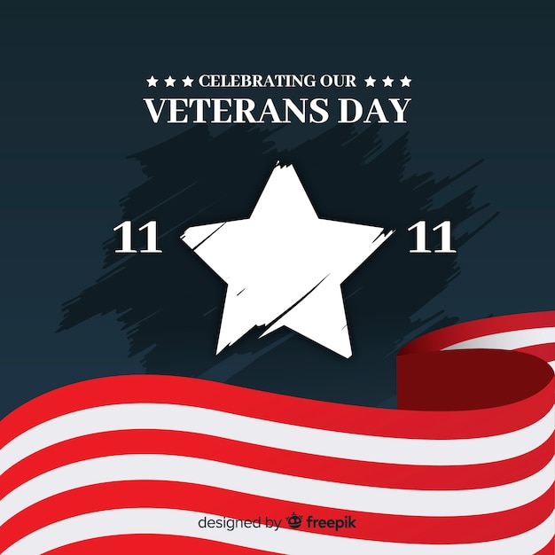 Veterans day big star background Free Vector