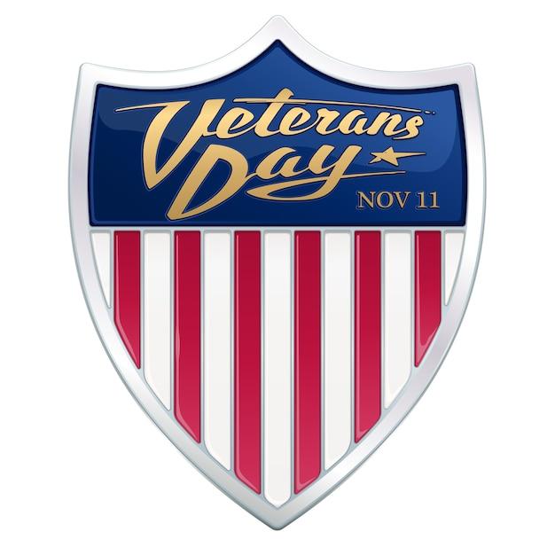 День ветеранов. каллиграфический текст на геральдическом щите с красными полосами американского флага. Premium векторы
