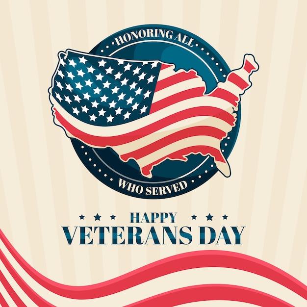 Veterans day concept in flat design Free Vector