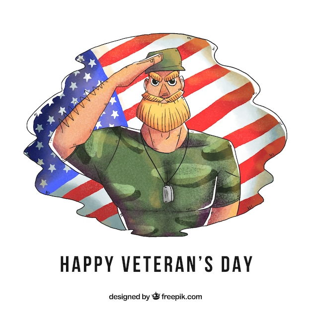 Veterans day design with hand drawn\ soldier