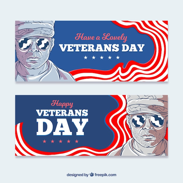 Veterans day illustration banners